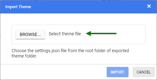 Import dialog for importing settings.json file