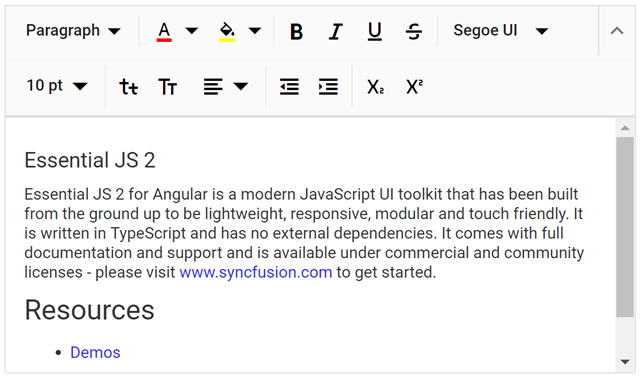 Introducing Angular Rich Text Editor in Essential JS 2
