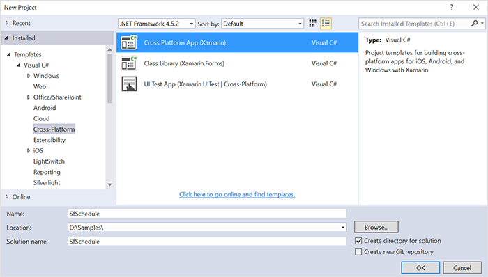 Creating Xamarin.Forms project