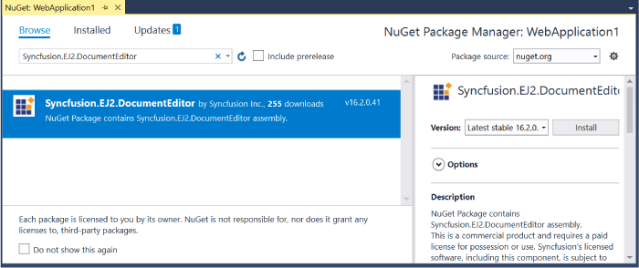 A screenshot of how to manage NuGets for a project in Visual Studio 2017
