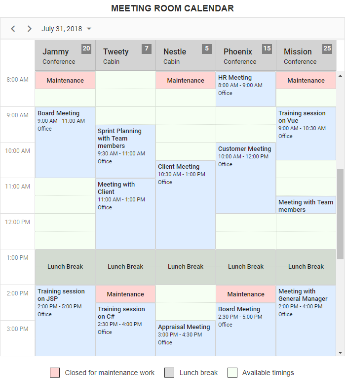 Creating Meeting Room Calendar Using JS Scheduler | Syncfusion Blogs