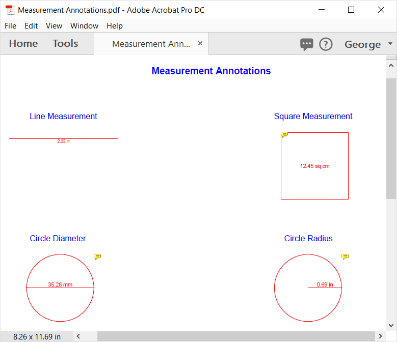 PDF measurement annotation