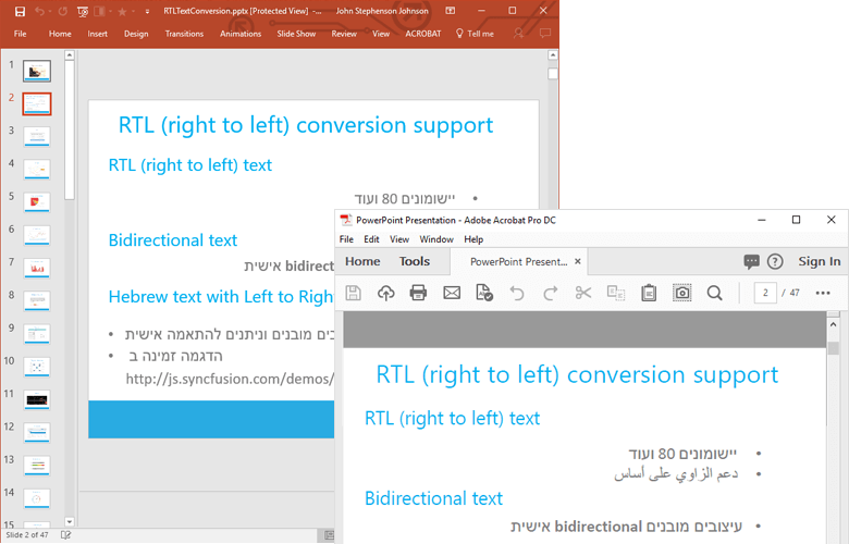right-to-left text supported during PPTX to PDF conversion