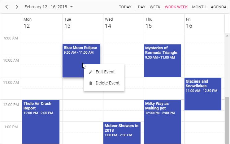 Context Menu displayed on Scheduler Event