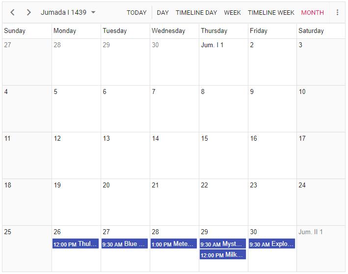 Scheduler displayed in Islamic Calendar Mode