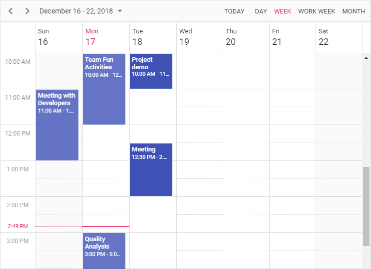 Read-Only Events in Scheduler