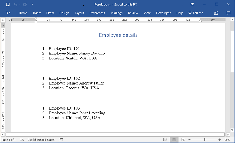 Restart list number when performing mail merge