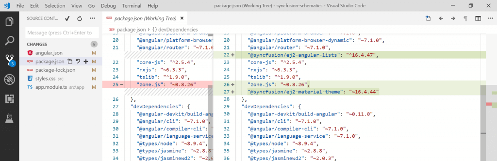 Angular Lists packages changes of package.json