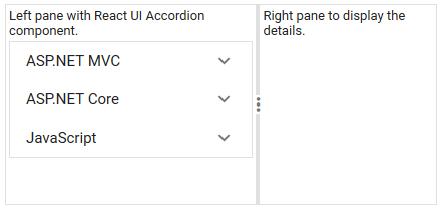 React UI Accordion within a split pane