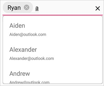 Xamarin.Forms Autocomplete is used to pick a mail contact