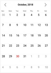 Syncfusion's Xamarin.Forms Calendar used to pick a date with calendar appearance.