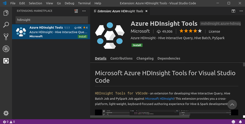 HDInsight Tools for VS Code Extension