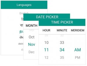 Syncfusion's Xamarin.Forms Picker  can be used to pick a language, date, and time.