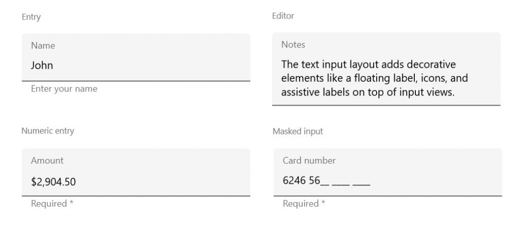 Syncfusion's Xamarin.Forms Text Input Layout used to show floating labels.