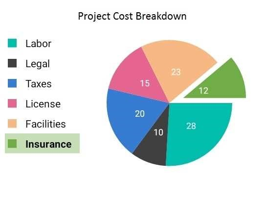 Colorful pie chart cost breakdown