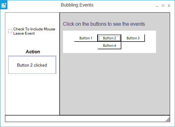 HTML viewer displays UI with event bubbling