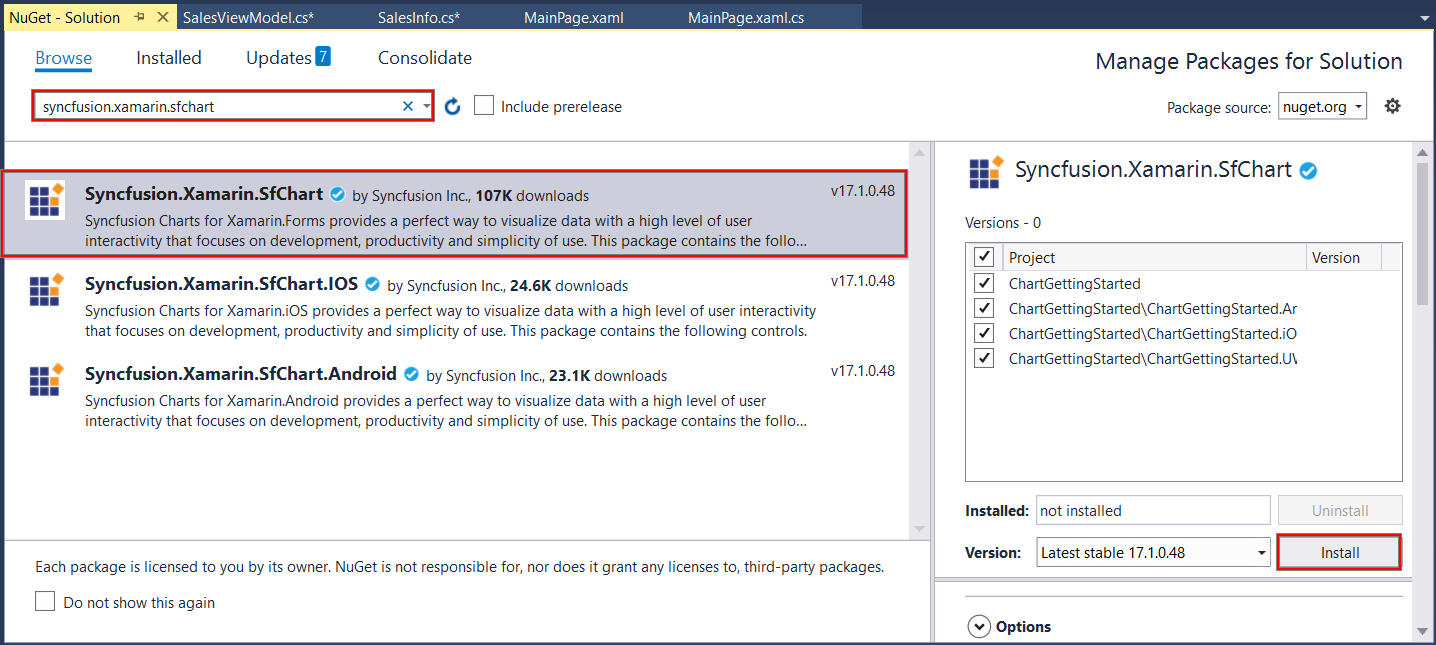 Syncfusion SfChart NuGet reference installation