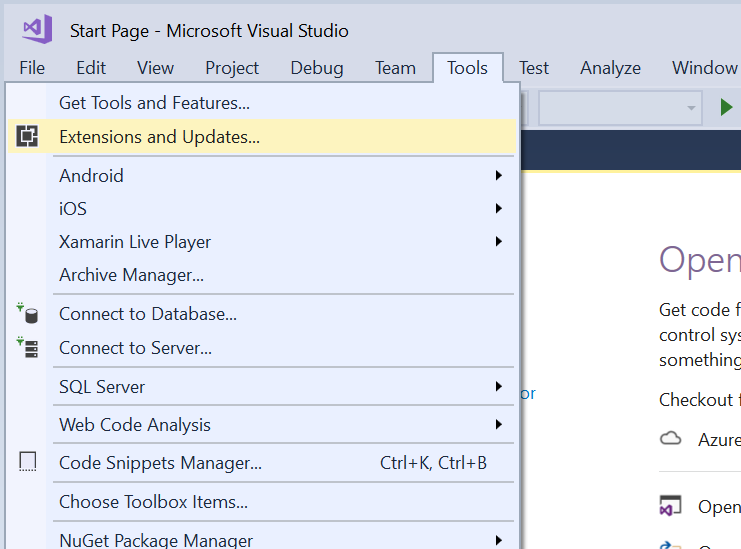 Extensions and updates in VS 2013 to 2017