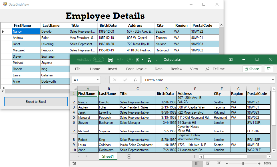 Export Microsoft DataGridView to Excel in c#