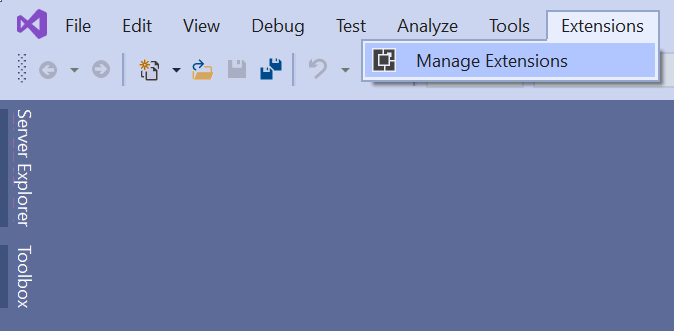 Manage extensions in VS 2019