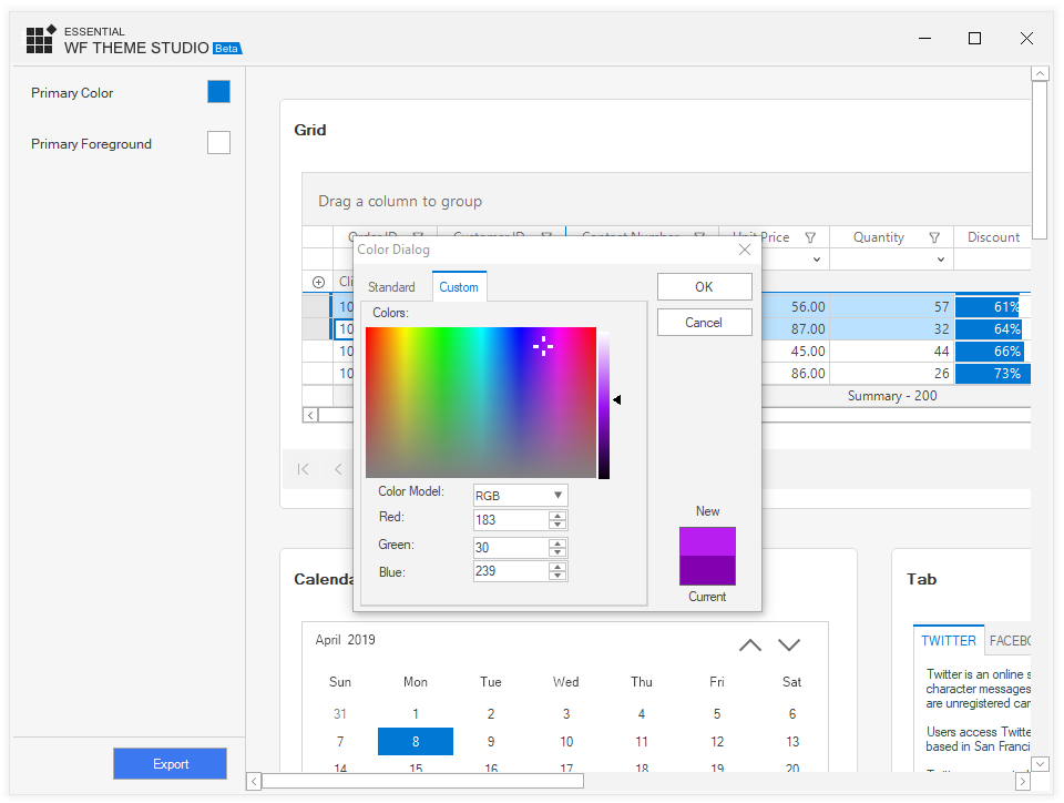 Choosing a different color to apply to WinForms Theme Skin