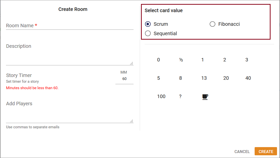 Radio button used to select card values