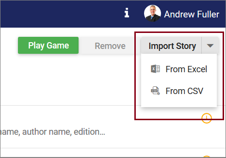 Split button to import stories