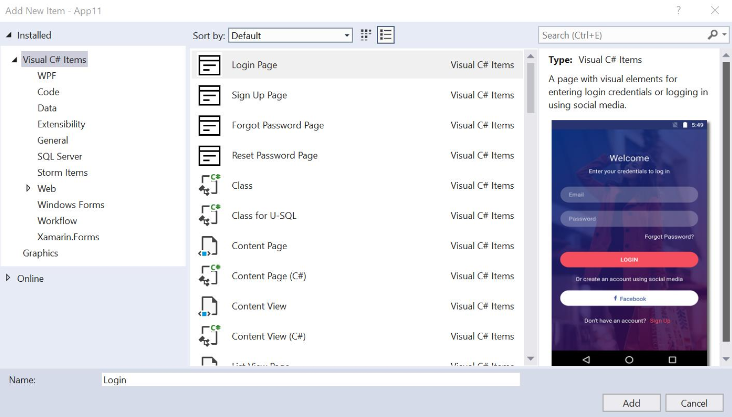 Visual Studio item template shows adding xamarin forms login screens.