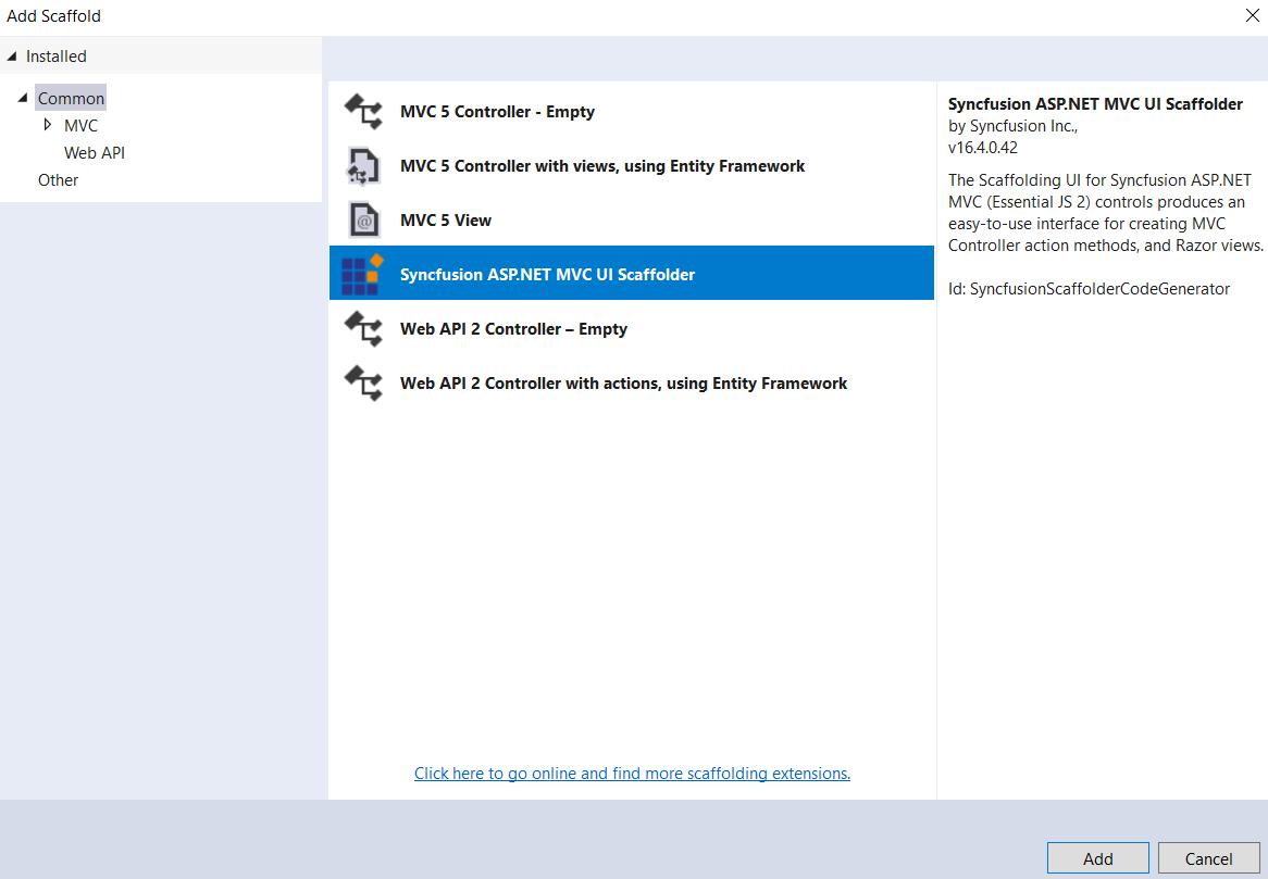 Adding Syncfusion ASP.NET MVC UI Scaffolder