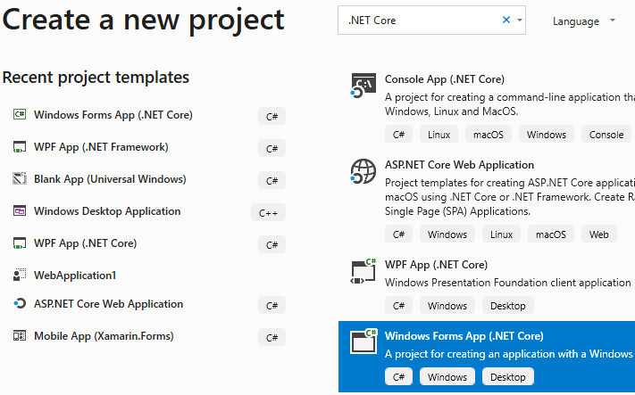 Creating a new Windows Forms App (.NET Core) project in Visual Studio 2019