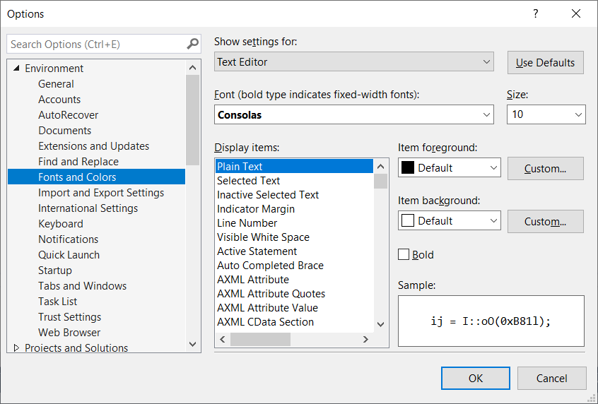 Customizing Fonts in Visual Studio