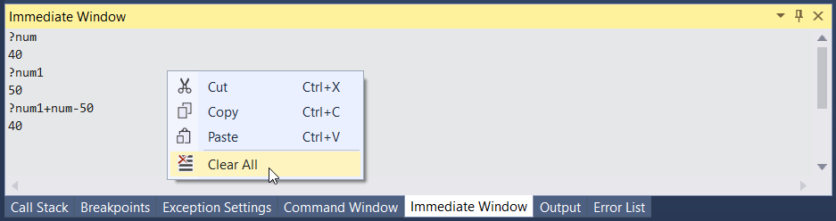 Immediate Window Context Menu