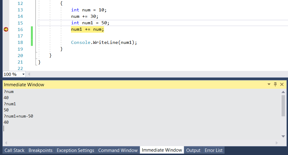 Immediate Window in Visual Studio
