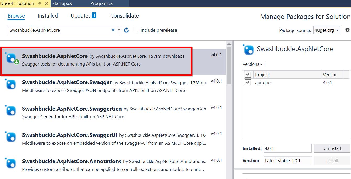 Installing Swashbuckle.AspNetCore NuGet package
