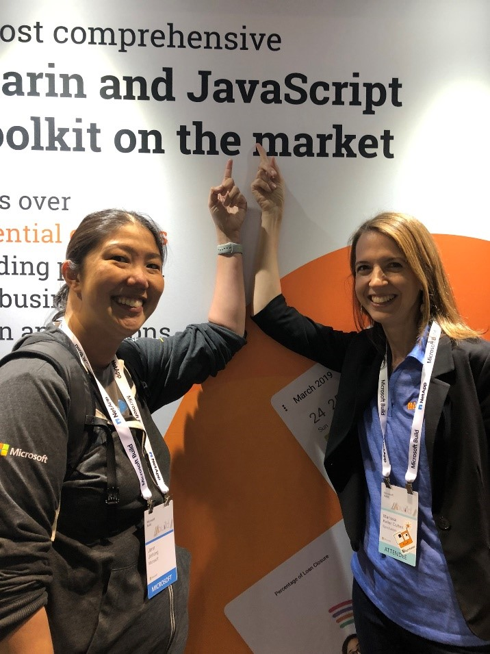 jenn jinhong and marissa keller outten at syncfusion's booth build