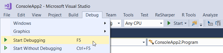 Start Debugging Option in Visual Studio