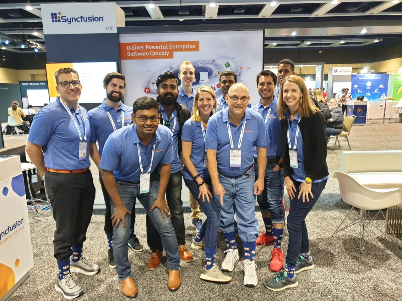syncfusion staffers at booth