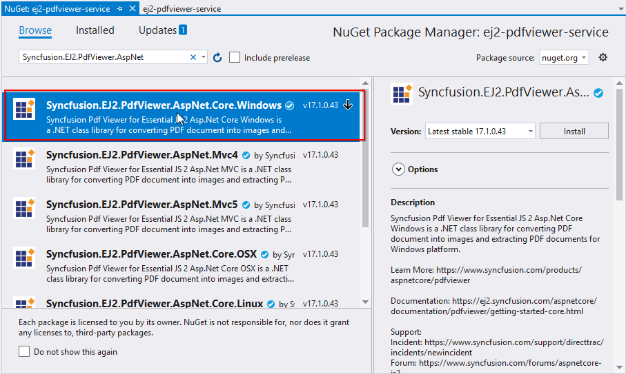 Install Syncfusion.EJ2.PdfViewer.AspNet.Core.Windows nuget package
