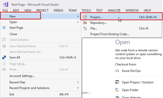 Create New VS Project