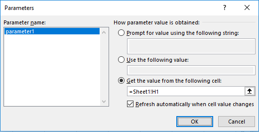 Screenshot of applying RANGE parameter in MS Excel