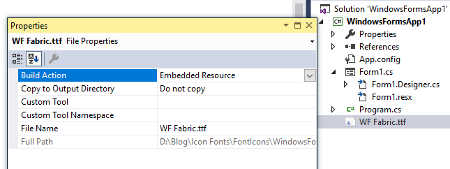 WF Fabric.ttf file marked as embedded resource