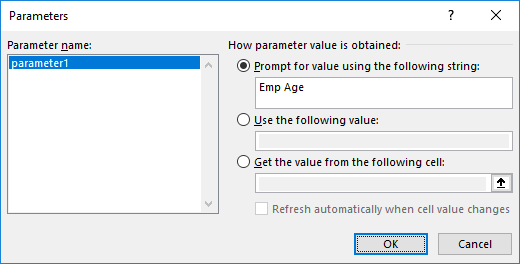 Screenshot of applying PROMPT parameter in MS Excel