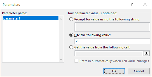 Screenshot of applying CONSTANT parameter in Microsoft Excel