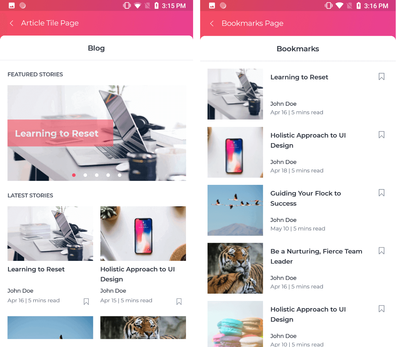 Article page in UI Kit