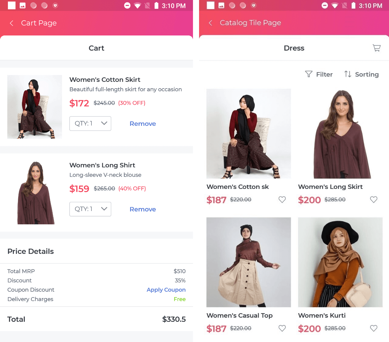 ECommerce page in UI Kit
