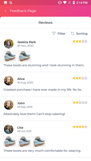 Feedback page in UI Kit