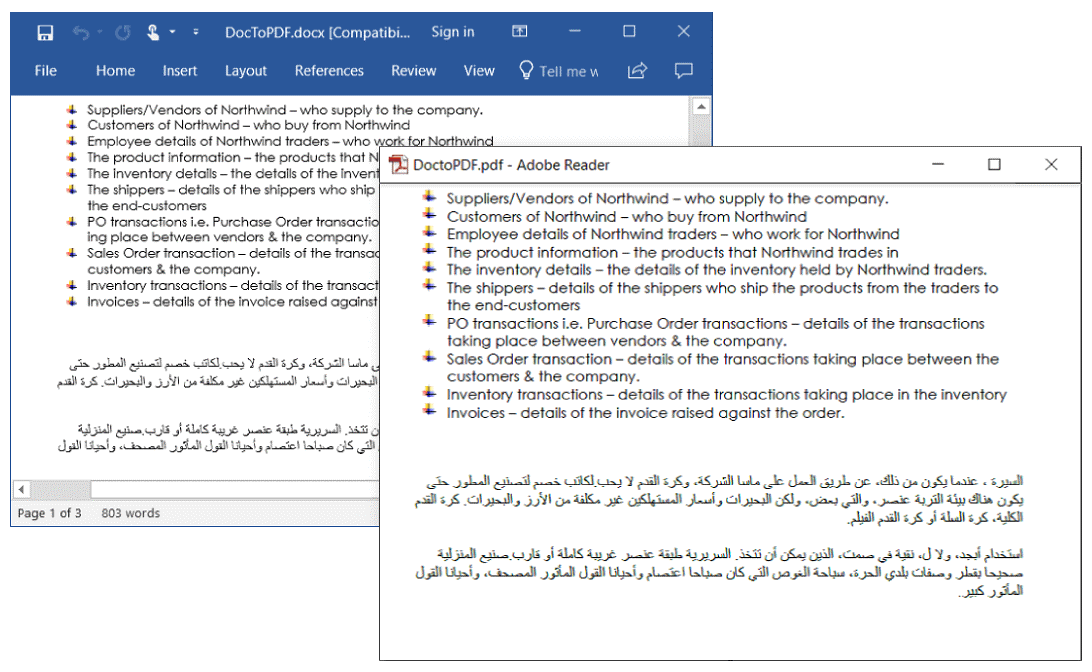 Improved RTL Text Support in Word-to-PDF Conversion