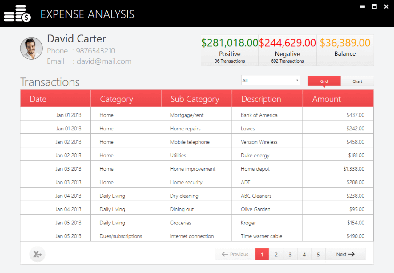 Expense Analysis .NET Core project output