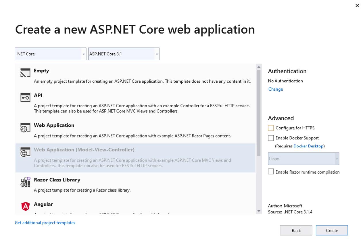 Create a new ASP.NET Core Web application