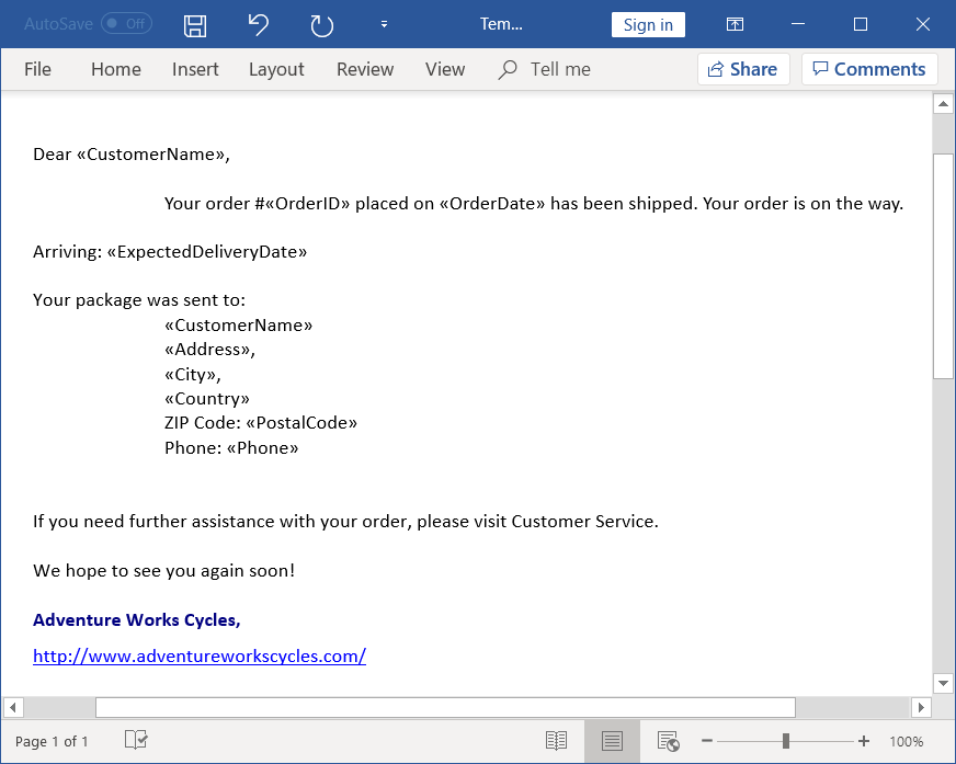 Template Word document to create Email messages